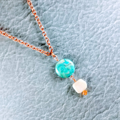Blue Agate Fresh Water Pearl Copper Necklace