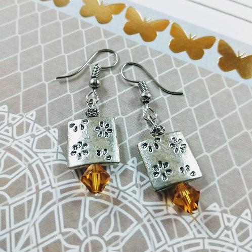 Silver Square Imprint Earrings