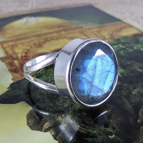 Faceted Blue Labradorite Sterling Ring