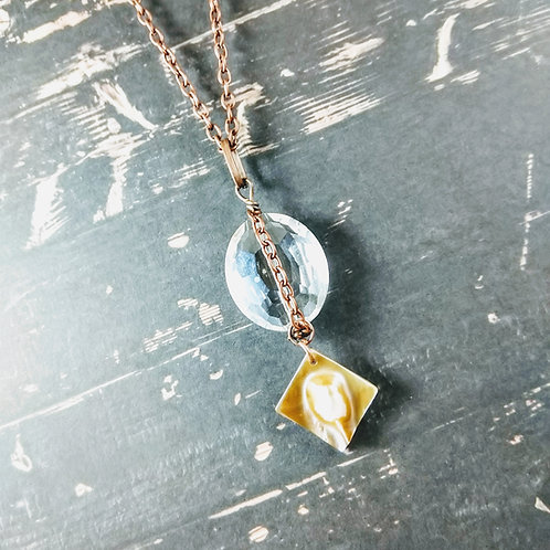 Oyster Shell & Crystal Copper Necklace
