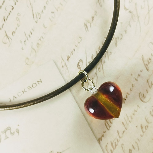 Red Alert Glass Heart Leather Necklace