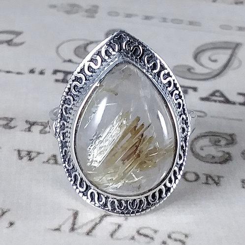 Gold Rutilated Quartz Sterling Ring