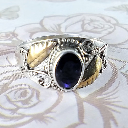 Faceted Iolite Sterling Ring