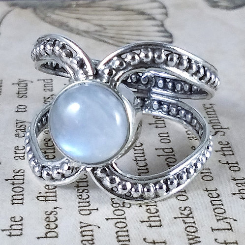 Blue Rainbow Moonstone X Sterling Ring