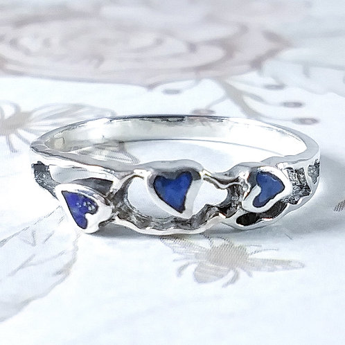 Lapis Hearts Sterling Ring