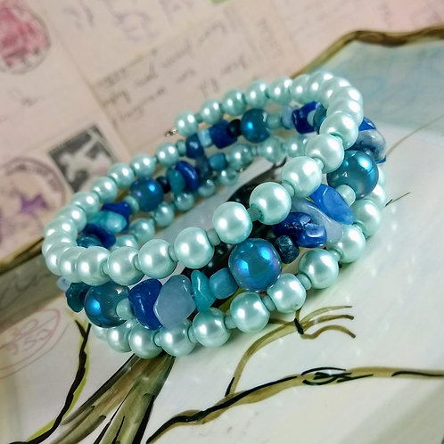 Blue Pearl & Stone Wrap Bracelet