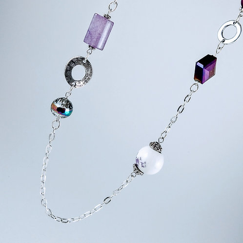 Purple Agate Crystal Silver Necklace 2
