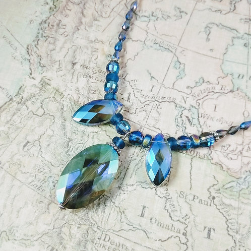Blue Marquee Crystal Silver Necklace