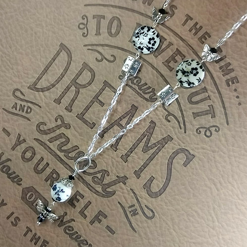 Black & White Dragon Fly Necklace