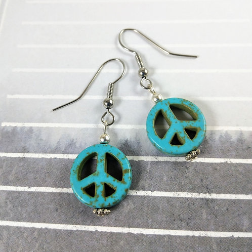 Turquoise Howlite Silver Peacesign Earrings