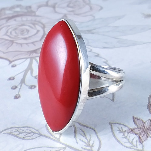 Red Coral Sterling Ring