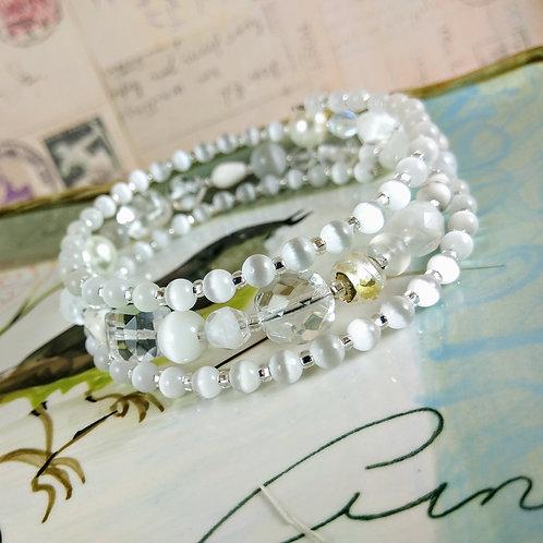 White Cat's Eye & Crystal Wrap Bracelet