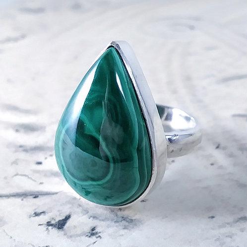 Large Teardrop Malachite Sterling Ring