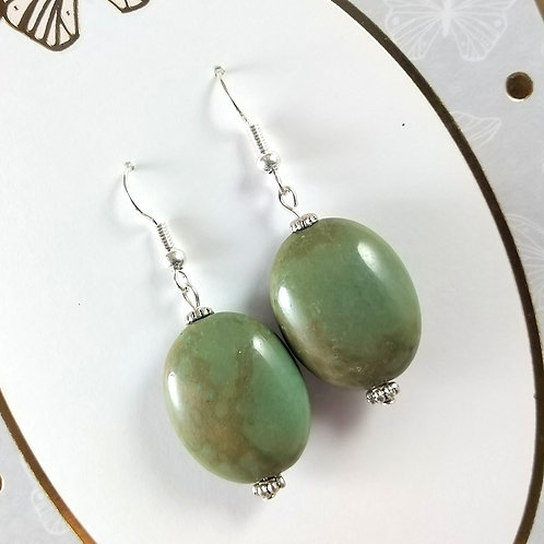 Green Turquoise Magnesite Silver Earrings