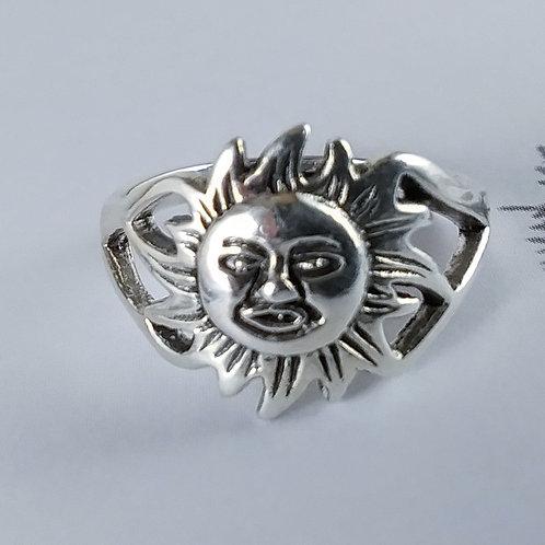 Sun Face Sterling Ring