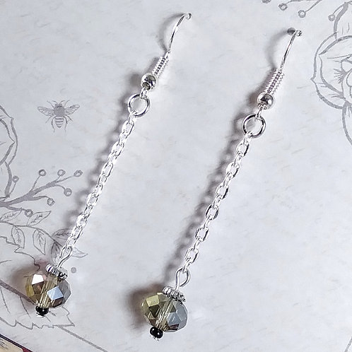 Gray Crystal Chain Earrings