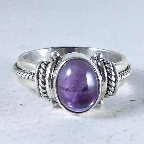 Oval Amethyst Sterling Ring