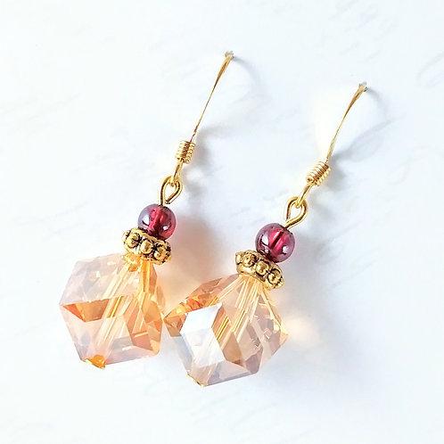 Gold Diagonal Crystal & Garnet Earrings
