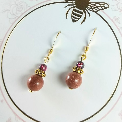Garnet & Goldstone Gold Earrings
