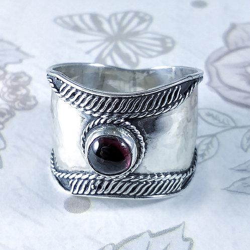 Garnet Wide Sterling Ring