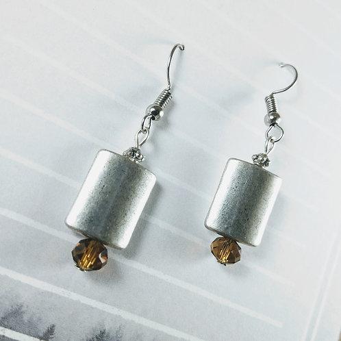 Silver & Brown Crystal Earrings