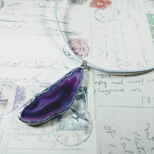 Agate Slab Leather Necklace