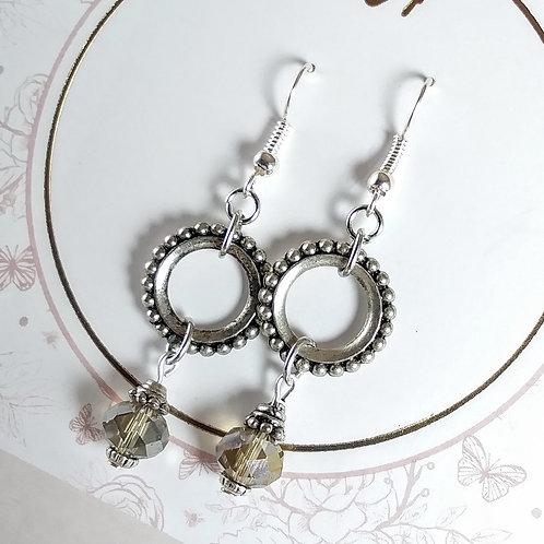 Gray Crystal Loop Dangle Earrings