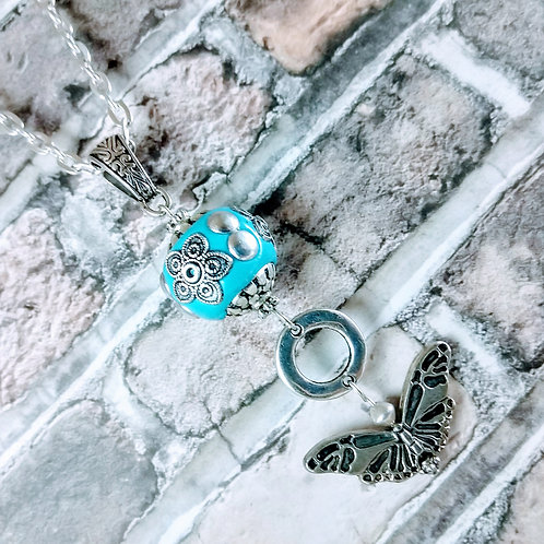 Turquoise Butterfly Silver Necklace