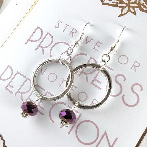 Purple Crystal Loop Earrings