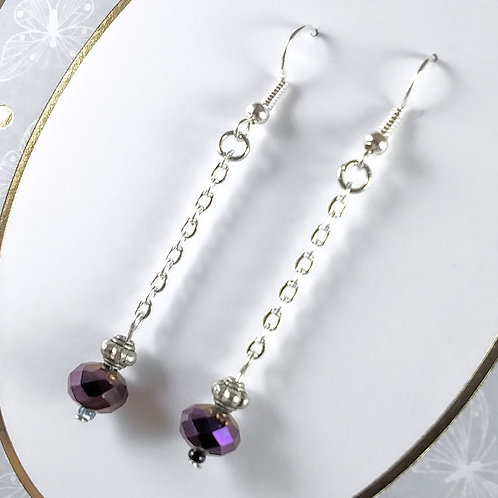 Purple Crystal Chain Earrings
