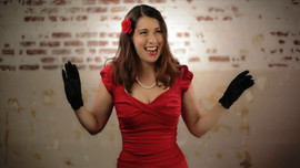 Safia Valines in red dress
