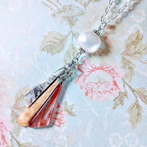 Fresh Water Pearl & Jasper Silver Necklace