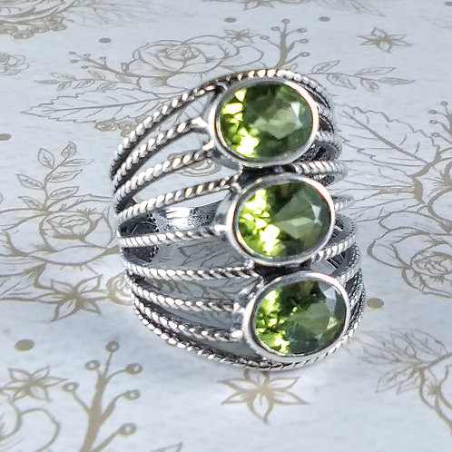 Triple Peridot Sterling Ring