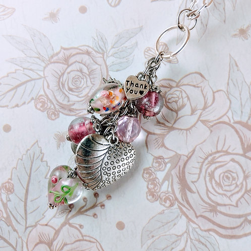 Forever Thank you Heart Butterfly Pink Dangle Silver Necklace