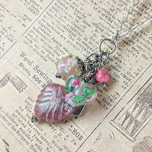 Love & Flowers Pink Silver Necklace