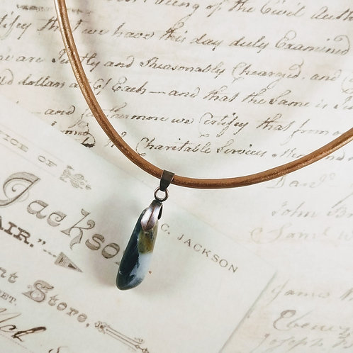Brown Jasper Leather Necklace