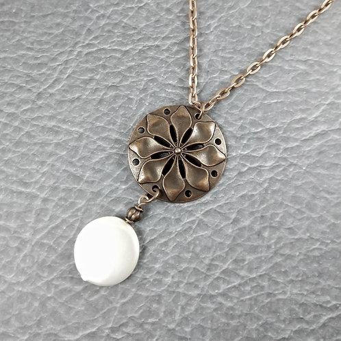 Bronze Flora Pearl Disc Necklace
