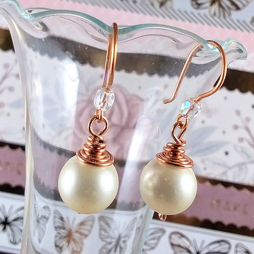 Copper Satin Pearl Earrings