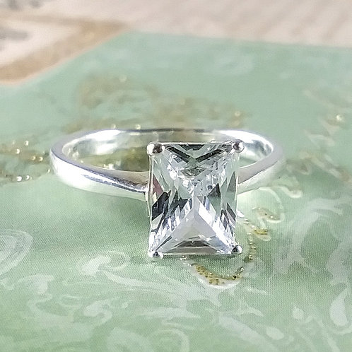 Emerald Cubic Sterling Ring