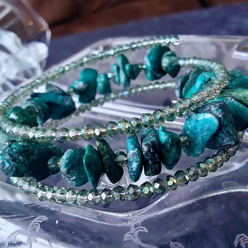 Genuine Turquoise and Crystal Coil Bracelet