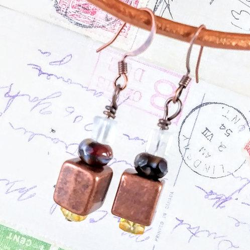 Copper Cube Earrings