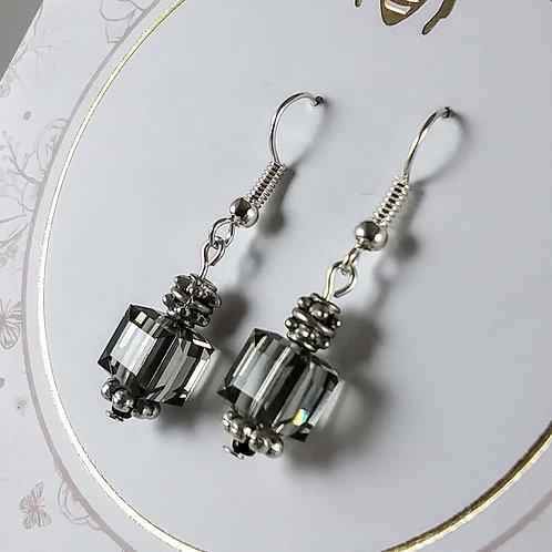Gray Swarovski Cube Earrings