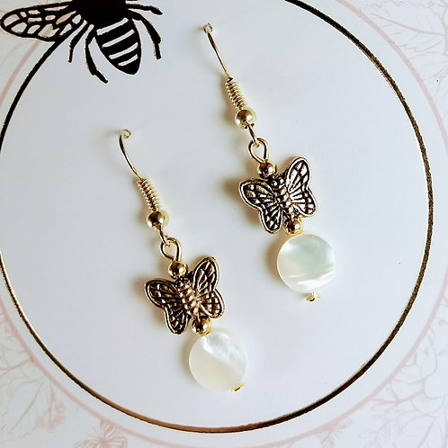 Gold Butterfly Mother of Pearl Earrings