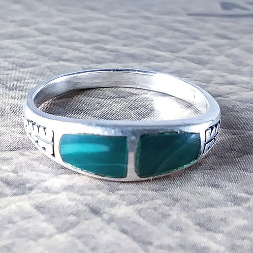 Double Stone Malachite Sterling Ring