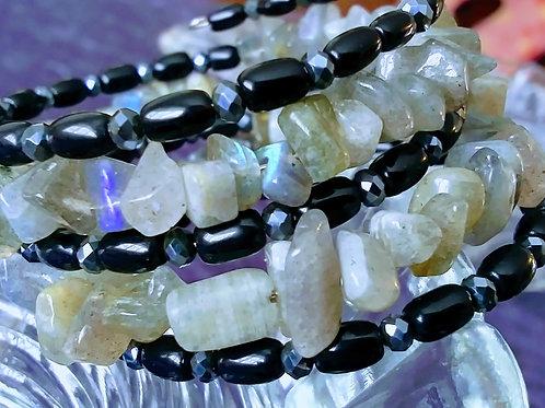 Labradorite, black agate and crystal coil bracelet