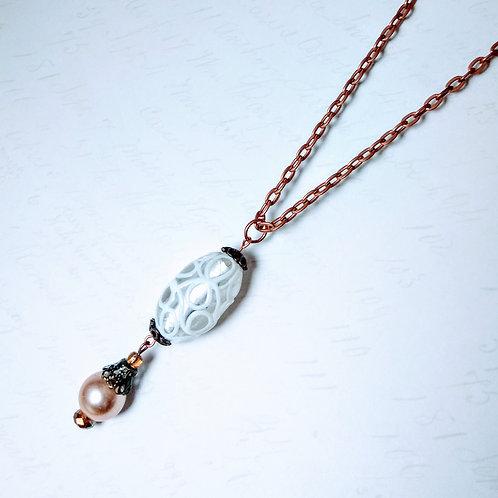 Swirl Pearl Copper Necklace