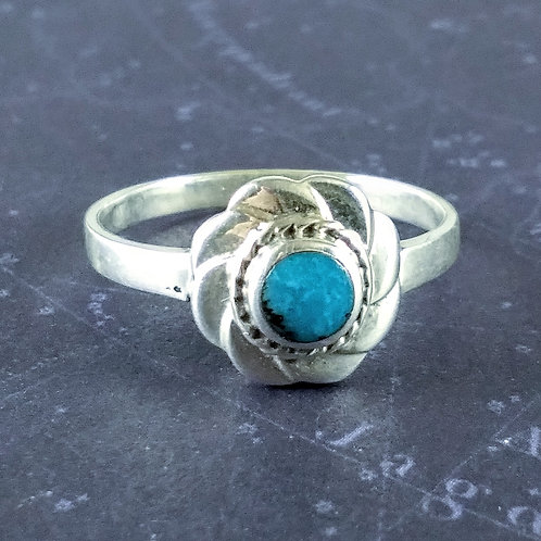 Turquoise Flower Sterling Ring
