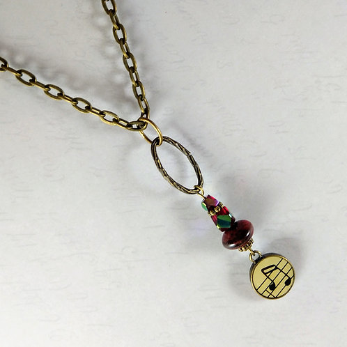 Bronze Music Red Necklace