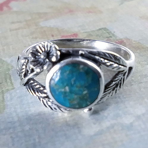 Turquoise Sterling Ring with Flora