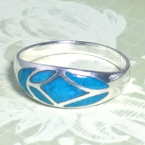 Blue Turquoise Inlay Sterling Ring